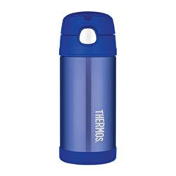 FUNtainer Dětská termoska s brčkem - modrá 355 ml