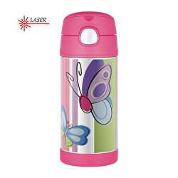 FUNtainer Dětská termoska s brčkem - motýl 355 ml