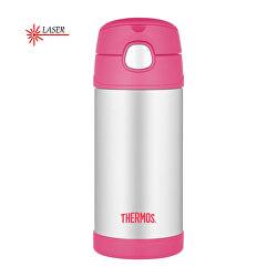FUNtainer Dětská termoska s brčkem - stříbrná/růžová 355 ml