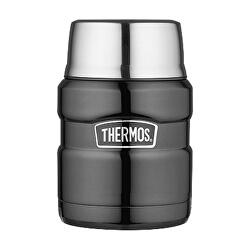 Stílus Élelmiszer termosz kanállal és egy csésze - fémes szürke 470 ml