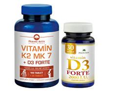 Vitamín K2 MK7 + D3 FORTE 125 tbl. + Vitamín D3 Forte 30 tbl.