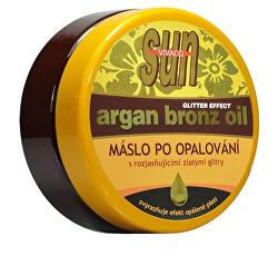 Zvláčňujúce maslo Argan bronz oil s glitrami po opaľovaní 200 ml