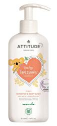 Dětské tělové mýdlo a šampon (2 v 1) Baby Leaves s vůní hruškové šťávy 473 ml