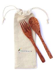 Cestovatel - dřevěný cestovní příbor s obalem - Kokosové dřevo