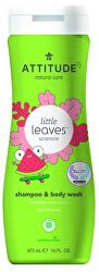 Dětské tělové mýdlo a šampon (2 v 1) Little Leaves s vůní melounu a kokosu 473 ml