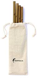 Set 4 bambusových brček s kartáčkem a obalem