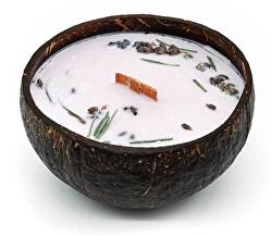 Svíčka v kokosu - vůně levandule