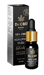15% CBD konopný olej Forte s černým pepřem a rozmarýnem 10 ml