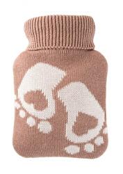 Dětský termofor Classic MINI s pleteným obalem - chodidla, hnědý