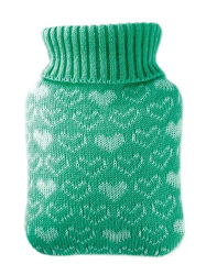 Dětský termofor Classic MINI s pleteným obalem - srdíčka, zelený