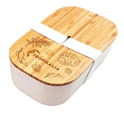 Lunch box ECO L s oddělovačem - Bílá páska