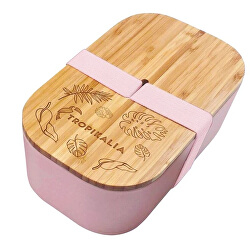 Lunch box ECO L s oddeľovačom - Ružový
