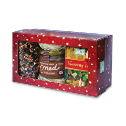 Dárková kazeta Vánoční čaje sypaný 100 g + porcovaný 20 x 2 g + pastovaný med se skořicí 250 g