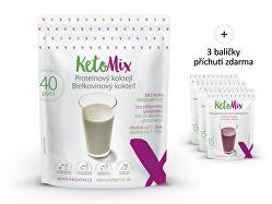 Proteinový koktejl KetoMIX 1200 g (40 porcí) (čokoláda, vanilka a jahoda)