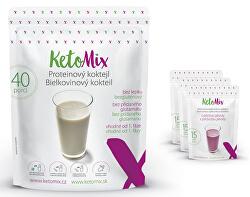 Proteinový koktejl KetoMIX 1200 g (40 porcí) (káva, lesní plody a kokos)