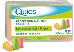 QUIES Pěnové chrániče sluchu (3 páry)