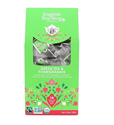 Zelený čaj s granátovým jablkem 15 pyramidek sypaného čaje