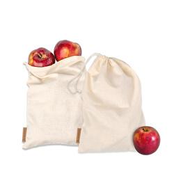 Vászon zacskók gyümölcsök és zöldségek tárolására 2 db