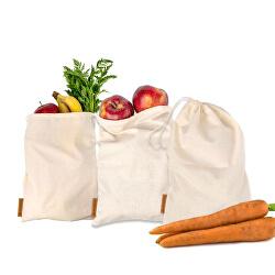 Vászon zacskók gyümölcsök és zöldségek tárolására 3 db