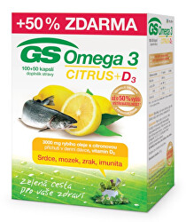 GS Omega 3 Citrus + D3 100 + 50 kapslí