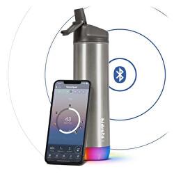 Nerezová chytrá lahev s brčkem 620 ml, Bluetooth tracker, nerezová