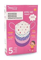 Respirátor FFP2 NR PRIMUS XXS 5 ks - dívčí motiv