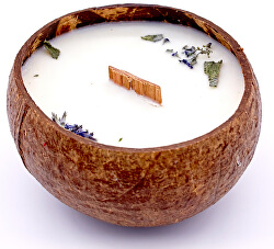 Gyertya kókuszhéjban - Melissa (Citromfű) illat