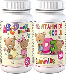 ABCD Multi Gummies 60 pektinových bonbónů + D3 Gummies 60 pektinových bonbónů