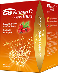 GS Vitamín C 1000 + šípky 100 + 20 tabliet DARČEK 2021