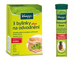 Výhodné balenie 3 bylinky na odvodnenie 60 toboliek + Šumivé tablety na podporu odvodnenie 20 ks