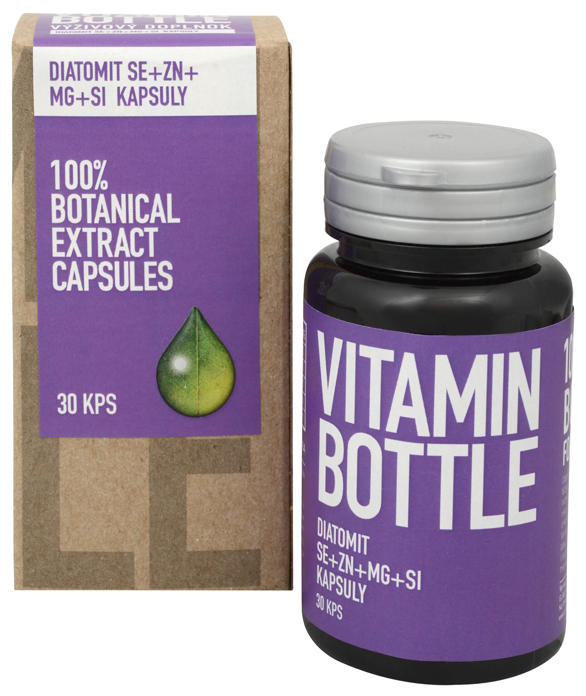 Vitamin Bottle DIATOMIT Se Zn Mg Si 30 kapslí