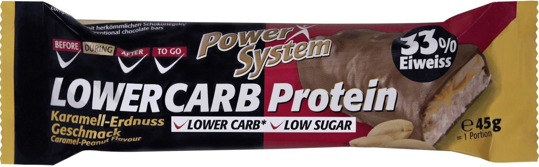 Power System LOWER CARB Protein Bar 33 percent Caramel Peanut 45 g