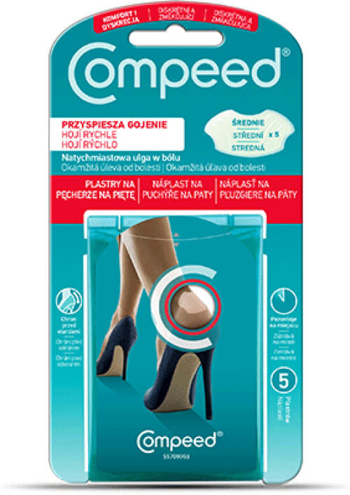 QUIES COMPEED Náplast na puchýře na paty 5 ks