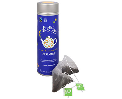 Ceai negru cu bergamot Earl Grey - staniu cu 15 bioodbouratelnými piramide