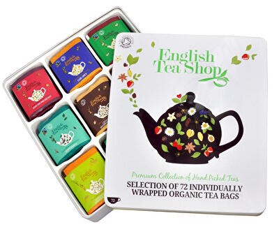O cutie-cadou de staniu - lux 72 de pliculete de ceai / 9 arome