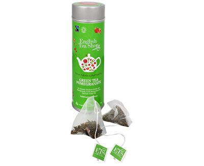 Zelený čaj s granátovým jablkem 15 pyramidek sypaného čaje v plechovce