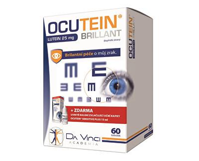 Ocutein Brillant Lutein 25 mg 60 tob.+ Ocutein® Sensitive zvlhčující oční kapky 15 ml ZDARMA