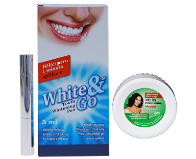 Whitening Pen - bělící zubní pero 5 ml + Bělící zubní pudr Mentol 55 g ZDARMA