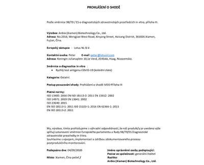 Rapid COVID-19 Antigén Test (Colloidal Gold) - zo slín