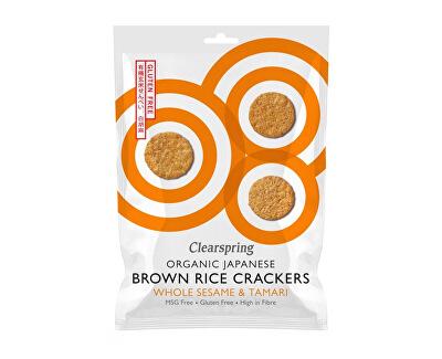 Japonské krekry z hnedej ryže s bielym sezamom a tamari BIO 40 g