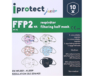 Respirátor FFP2 NR iprotect junior čierny 10 ks